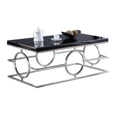 Meridian Furniture   Brooke Chrome Coffee Table, Chrome Base And Black Glass  Top   Coffee