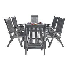 Renaissance Outdoor Patio Hand-scraped Wood 7-Piece Dining Set, Reclining Chairs