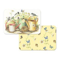 Vinyl Plastic Placemats Reversible Birds Butterflies Set of 4