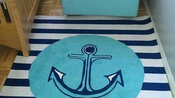 Beach House Nursery- Anchor Rug in Aqua