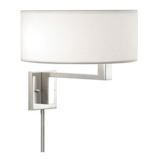 Quadratto Swing Wall Lamp With Off-White Shade, Satin Nickel