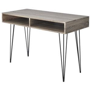 VidaXL Desk With 2 Compartments, Grey