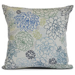 "E by Design - 26x26"", Opal, Floral Print Pillow, Navy blue - Watch your home blossom with help from E by Design's Floral Frolic collection! This collection of floral designs will open your home to the beauty of nature with its' warm pallate. Everyone visitor in your home will marvel at the earthy aesthetics brought by this decorative pillow collection."