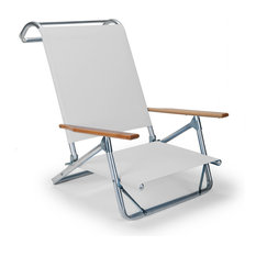 Mini-Sun Chaise Folding Arm Chair, White, Single Chair