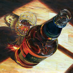 Trisha Selgrath Fine Art - Hot Scotch, Original Oil Painting - The artist has created a detailed study of a bottle of Dewars and a cut crystal tumbler on a wooden table. Pushing perspective to create an unusual composition, she studies reflected light, the transparency of liquid, and the opacity of wood.