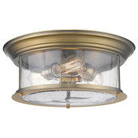 3-Light Flush Mount, Heritage Brass