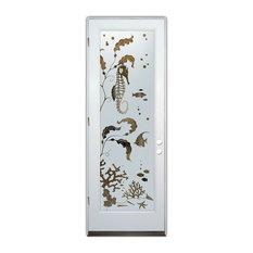 Sans Soucie Art Glass - Glass Front Entry Door Sans Soucie Art Glass Aquarium Seahorse - Front Doors