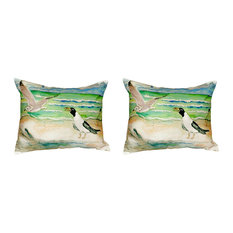 Pair of Betsy Drake Seagulls No Cord Pillows 15 Inch X 22 Inch