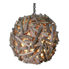 Ball Acacia Wood Pendant Lamp