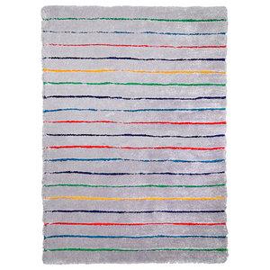 Tom Tailor Soft Shaggy Hidden Stripes Rug, Grey, 160x230 cm
