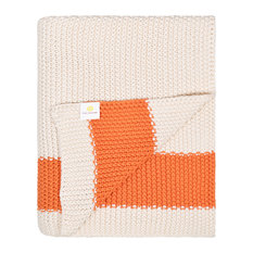 Cotton Throw Blanket, Marici Collection, Natural and Orange