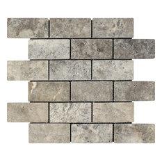 Silver Travertine Brick Mosaic, 2x4, Tumbled Mosaic Tiles, 10 Sqft