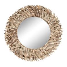 "Handmade Rustic Driftwood Circular Mirror 48"""