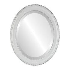 """Kensington Framed Oval Mirror in Linen White, 27""""x33"""""""