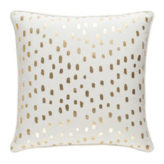 Glyph Accent Pillow, Cream and Metallic Gold
