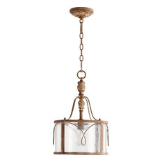 Joshua Marshal - One Light Clear Seeded Glass French Umber Drum Shade  Pendant - Pendant Lighting