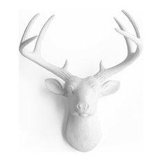 Virginia Faux Mini Deer Head, White/White