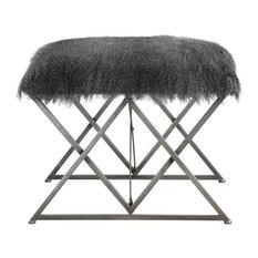 Elegant Plush Faux Fur Shaggy Ottoman Bench Gray Brown Silver Stool