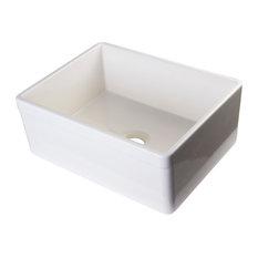 "ALFI AB506-B Biscuit 26"" Lip Apron Single Bowl Fireclay Farmhouse Sink"