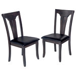 TTP Furnish - Solid Wood Sturdy Dining Chair/Modern Kitchen Chair, Dark Gray, Set of 2 - This beautiful and elegant side chair makes a great addition to any of our dining tables. It's quaint design with fine detial make it a true thing of beauty, and allow it to fit easily into any decor type. It is made from a tropical hardwood called Rubberwood, which is both eco-friendly and durable. On top of that this chair features a paddd black faux-leather set and curved back, making it both comfortable and supportive.