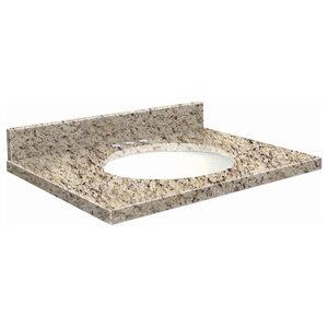 "Granite 49""x22"" Vanity Top, 8"" Centerset, Giallo Ornamental, White Bowl"