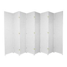 7' Tall Woven Fiber Room Divider, White, 8 Panel