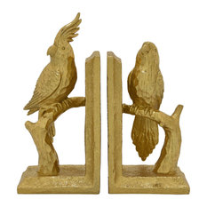 "Three Hands Parrot Bookend, Gold Resin Magnesium 9""x3""x9"""