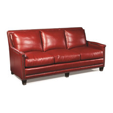 Silver Coast Company   Red Leather Sofa Nailheads   Sofas