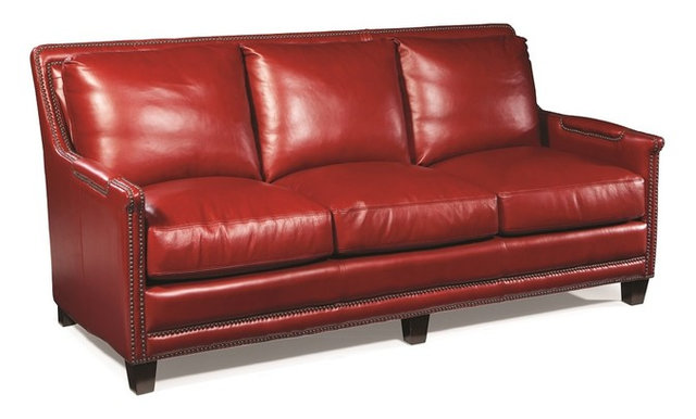 Red Leather Sofa Nailheads