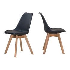 Mirage Mid Century Modern Side Chairs Set Of 2 Black