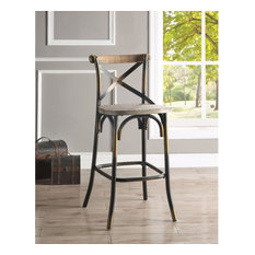 Wood & metal Bar Height Chair with X-Style Panel back, Antique Copper