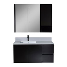 "Monaco 42"" Wall Mount Left Vanity With Medicine Cabinet and Wall Cabinet"