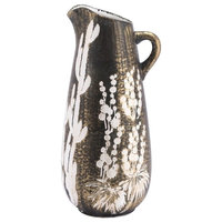 """Decor Ceramic Jar With Antique Gold and White Finish A11395, 8.7""""x7.7""""x17.7"""""""