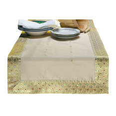 Gold - Hand Crafted Table Runner (India) - 14 X 70 Inches