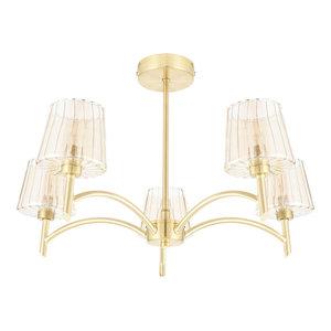 Niles 5-Light Semi-Flush Ceiling Light, Satin Brass