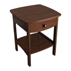 Curved End Night Stand Table 1 Drawer Antique Walnut