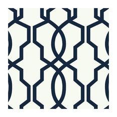 York Wallcoverings GE3664 Ashford Geometrics Hourglass Trellis Wallpaper, Navy