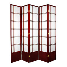 7' Tall Double Cross Shoji Screen, Rosewood, 5 Panels