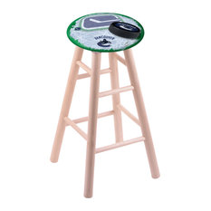 Maple Bar Stool Natural Finish With Vancouver Canucks Seat 30-inch