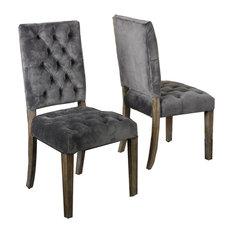 GDF Studio Myrtle Velvet Charcoal Dining Chairs, Set of 2