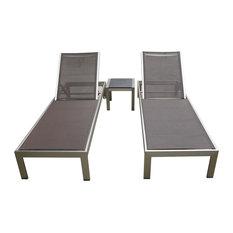 Outdoor Aluminum Textilene Pool Lounge Resin 3-Piece Chair Set