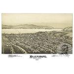 "Ted's Vintage Art - Old Map of Millersburg Pennsylvania 1894, Vintage Map Art Print, 24""x36"" - Old Map of Millersburg, Pennsylvania - 1894"