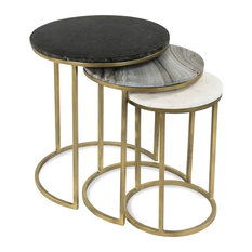 3-Pc Nesting Table Set in Brass