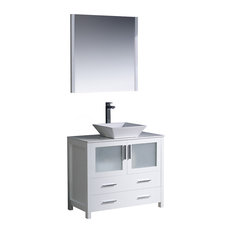 Fresca Torino Modern Bathroom Vanity With Vessel Sink, Mirror, White, 36""