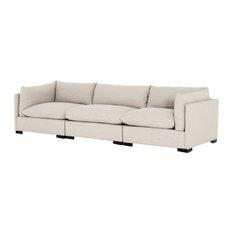 Westworld Modern 3-Piece Lounge Sofa 117-inch Beige