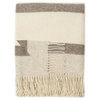 Kensington Wool Throw Ivory, Brown, Beige Stripes