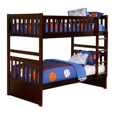 Homelegance Rowe Twin/ Twin Bunk Bed in Dark Cherry - Twin/ Twin with Storage