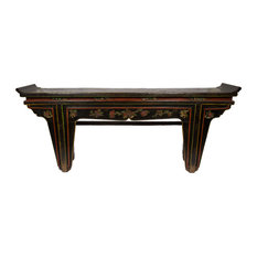 Consigned Carved Black Alter Console Table