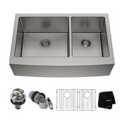 "KRAUS 36"" Farmhouse 60/40 Kitchen Sink 16G Stainless Steel With Accessories"