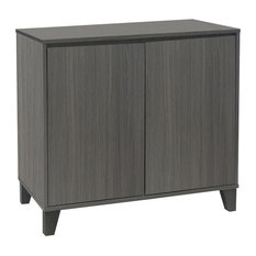 Pilaster Designs   Anitra Oak Gray Wood Modern 2 Door Cabinet Entryway  Console Table   Accent